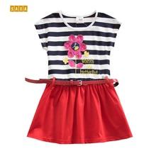 Girl dresses NEAT 100% cotton Children's Clothing Lovely flowers princess dress kids clothes girl short sleeve dresses
