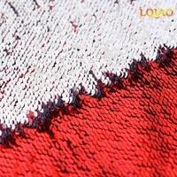2017 Chegada Nova Sereia Sequin Reversível Brilhante Vermelho/Prata Brilhante Em Spandex Lantejoula Renda Tecido By The Yard DIY Tecido costura