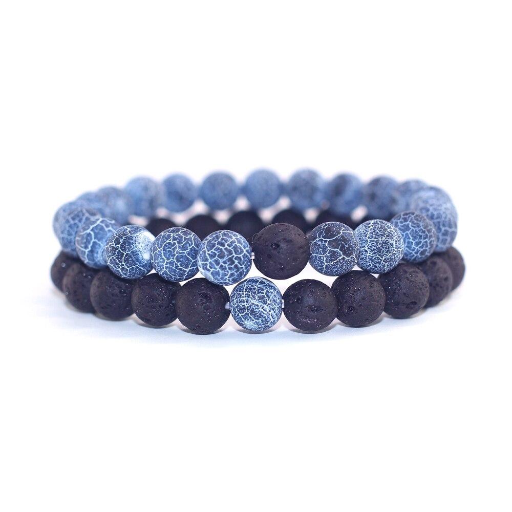 2pcs/set Couples Jewelry Classic Distance Bracelet Bangle For Men Black Lava Beaded Bracelets Matching Yin Yang Female Bracelet
