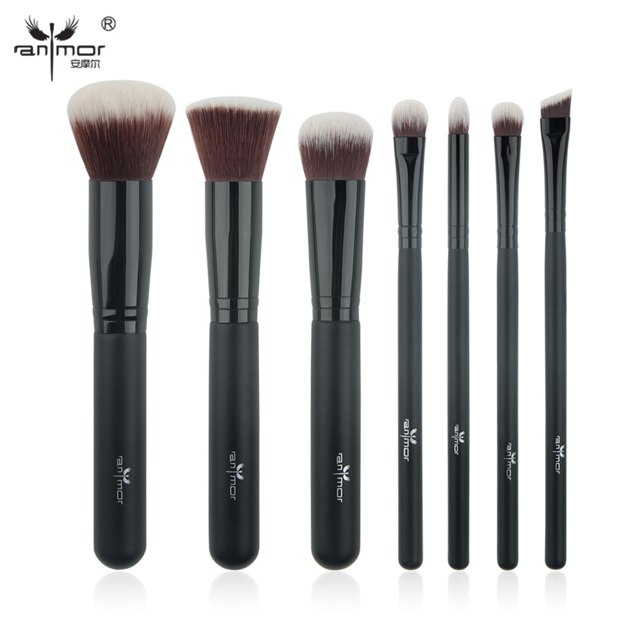 Anmor 7 PCS/SET Makeup Brushes Set Professional Make Up Tools for Powder Blush Eye Shadow Products PL003 10 pcs crystal professional makeup brushes set beauty power blush flame angle shadow comestic makeup tools