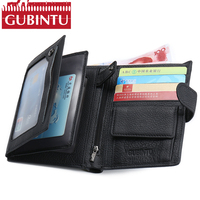 Multifunction GUBINTU Genuine Leather Passport Holder Fashion Wallet Men Coin Purse Organizer Travel Passport Clutch Male