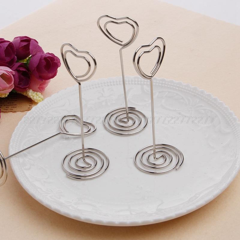 10Pcs/set Place Card Holder Heart Shape Clips Wedding Favors Place Card Holder Table Photo Memo Number Name Clips Base JUN26 image