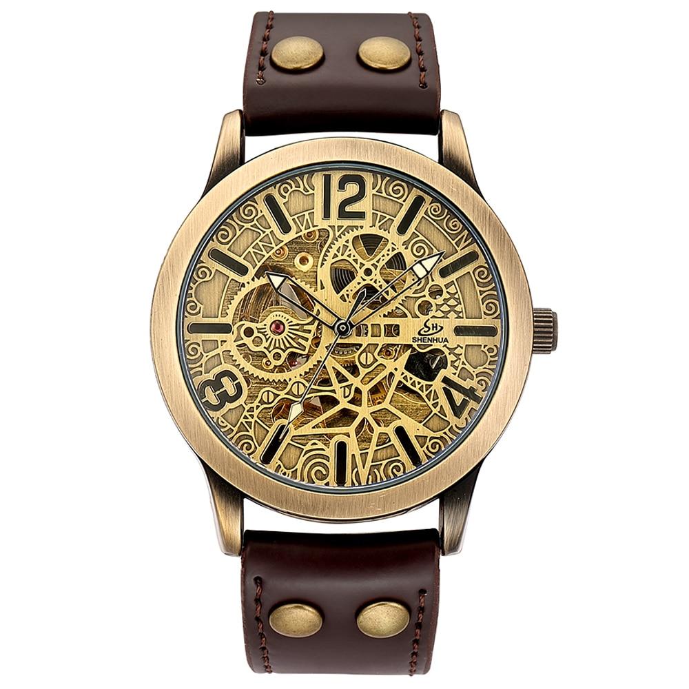 bc974d5dfbb Comprar Elegante Relógio De Pulso para Homens Mens Watch Esqueleto Mecânico  Automático dos homens Auto Enrolamento Números Romanos Relógios de Pulso ...