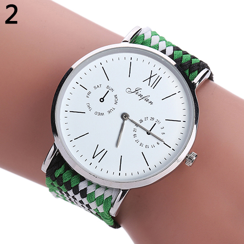 Women Ethnic Style Braided Woven Band Quartz Round Dial Wrist Watch Xmas Gift