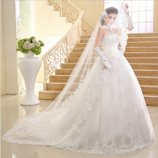 2015 best selling wedding dress ball gown train sweetheart crystal lace up cinderella bridal gown organza