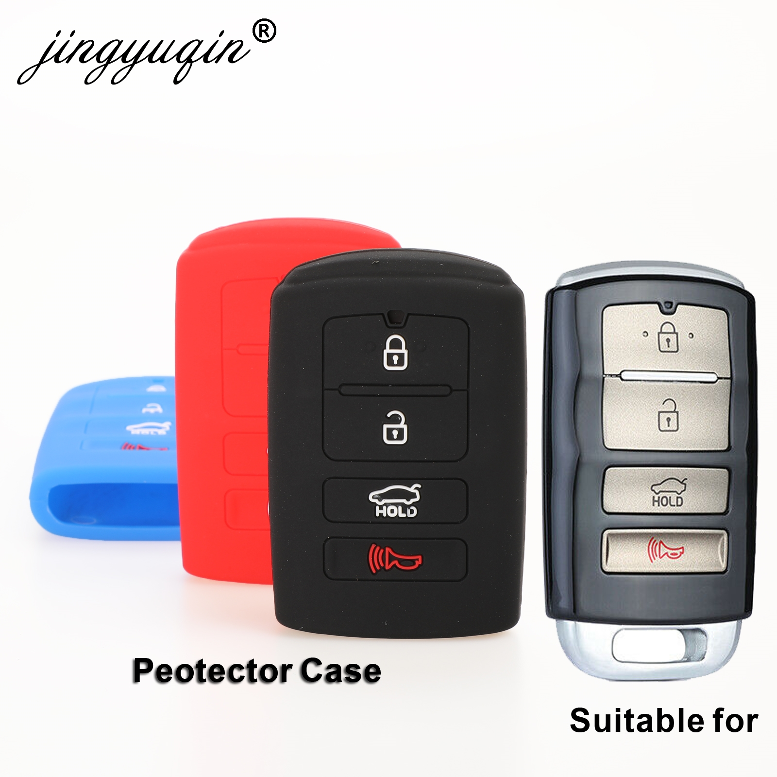 Jingyuqin Remote 4B Car Key Case Silicone For Kia Sorento K900 New K7 Cadenza 2017 2018 2019 Holder Styling Smart