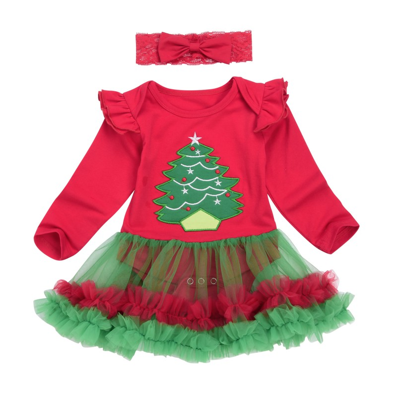 Kids Baby Girls Christmas Dress Rompers Sets Santa Claus Long Sleeve Mesh Tulle Dress+Lace Headband Jumpsuit Outfits Set