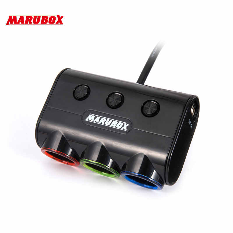 120W 3 Ways Auto Socket Splitter Car Cigarette Lighter Socket Splitter 12V/24V DC Dual USB Port Car Charger