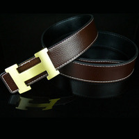 2018 Solid Brass Luxury H Brand Designer Belts Men High Quality Male Business Genuine Real Leather