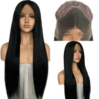 FANXITON Synthetic Lace Front Wig For Women Black Color Strsight Long Wigs Big Lace Synthetic Wig Glueless Cosplay Wigs