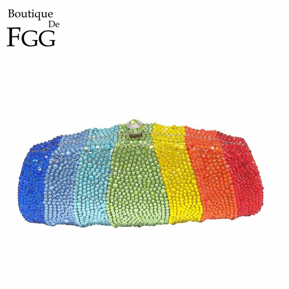 Boutique De FGG Rainbow Colorful Women Crystal Clutch Evening Bags Metal Minaudiere Wedding Diamond Handbags Bridal
