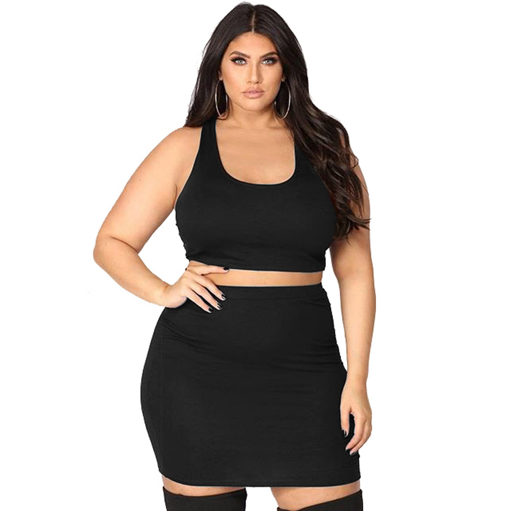 Plus Size 4XL Sexy Women Summer Set Solid Color Female Crop Top Mini Skirt Two Piece Set L-4XL