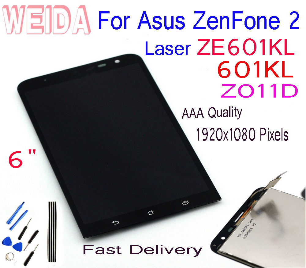 WEIDA 6 0 quot For Asus ZenFone 2 Laser ZE601KL 601KL Z011D LCD Display Assembly Touch Screen Panel Digitizer With Adhesive Tools in Mobile Phone LCD Screens from Cellphones amp Telecommunications