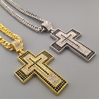 18K Gold Silver Plated Crystal CZ Iced Out Cross Pendant Necklace Bling Bling Christian Jesus Jewelry