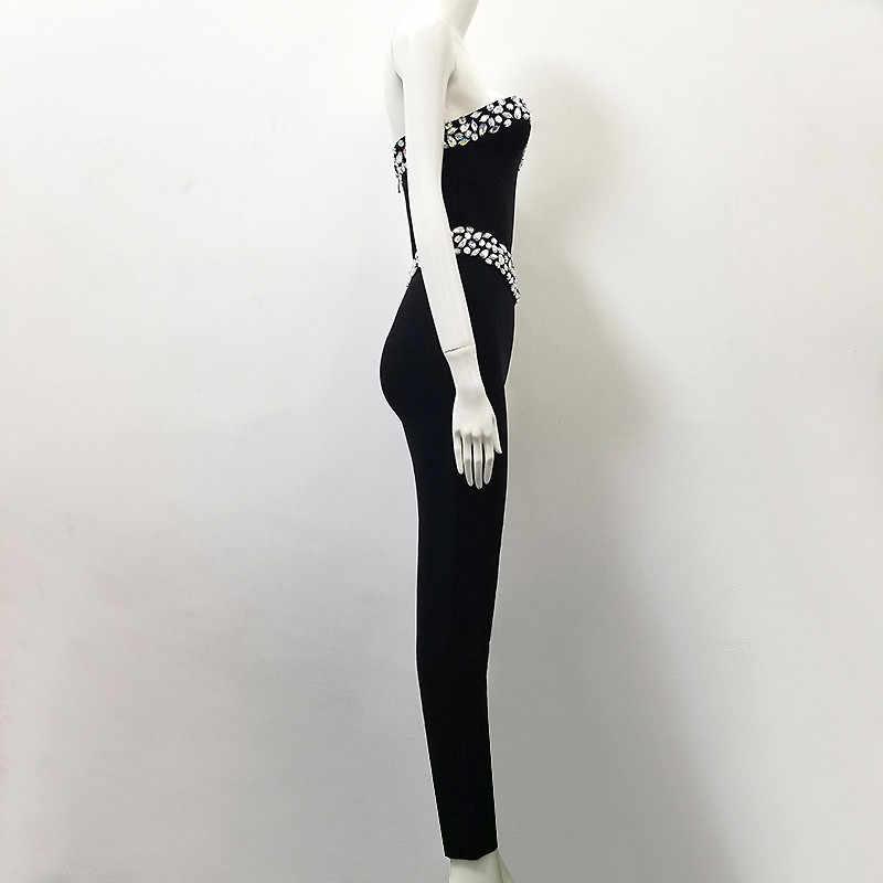 高品質黒ノースリーブストラップレスビーズ包帯ロンパースジャンプスーツ