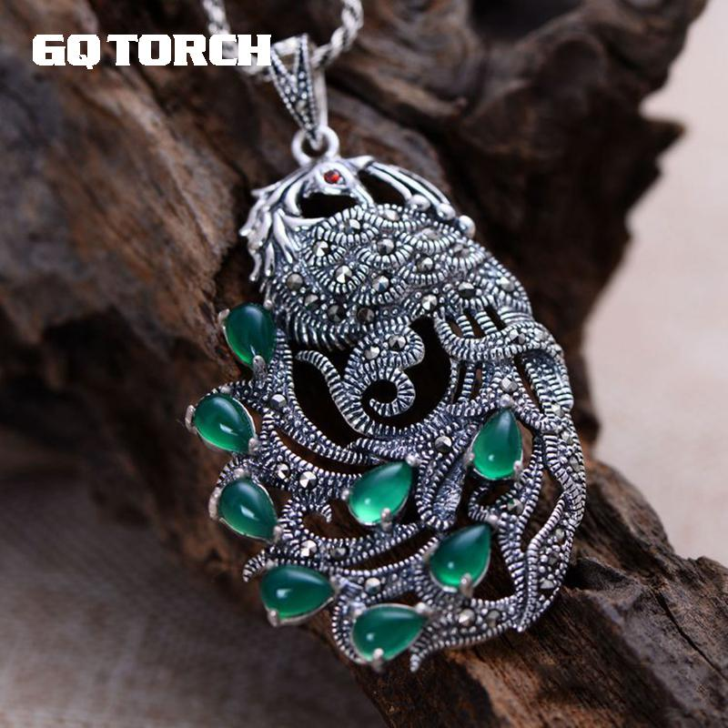 GQTORCH Real Pure 925 Sterling Silver Peacock Natural Gemstone Pendants For Women Inlaid Green Chalcedony Marcasite