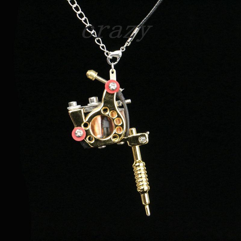 1pc fashion mini tattoo machine jewelry pendant golden cool tattoo 1pc fashion mini tattoo machine jewelry pendant golden cool tattoo machine necklace with key chains ring tm 918c free shipping aloadofball Images