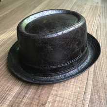 100% Leather Pork Pie Fedora Hat Men Boater Flat Top Hat For Gentleman Dad Porkpie Hat Gambler Top Hat Big 4Size
