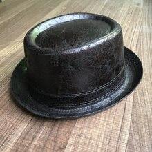 100% leder Pork Pie Fedora Hut Männer Boater Flache Top Hut Für Gentleman Dad Porkpie Hut Gambler Top Hut Große 4 größe