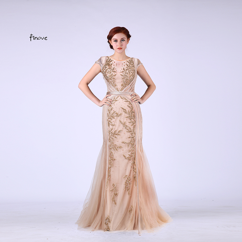 Finove Elegant Mermaid Evening Dresses Long 2017 New with Scoop Neck Capped Sleeves Beading Champagne Prom