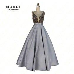 Реальные фотографии, бальное платье Гари цвета, кристалл, v-образный вырез, официальное длинное вечернее платье 2019, платья для выпускного ве...