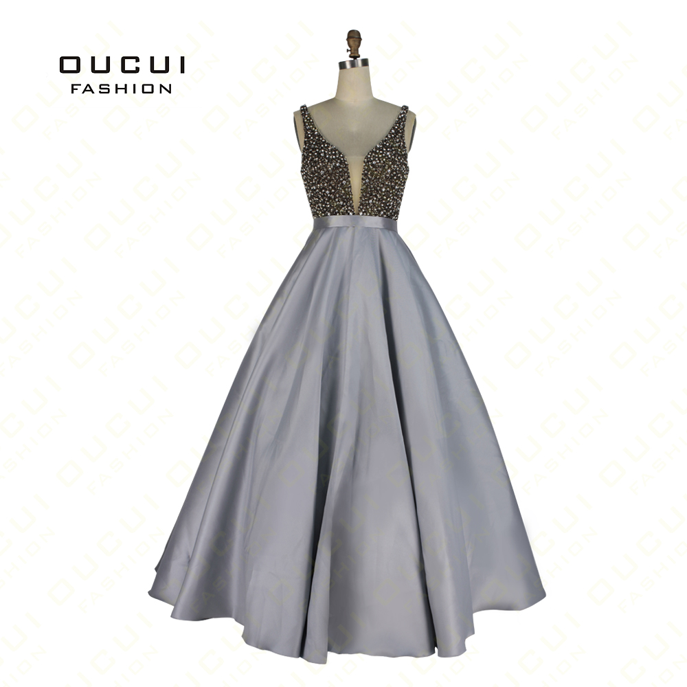 Real Photos Gary Color Ball Gown Crystal V Neck Formal Long Evening Dress 2019 Prom Party Dresses Robe De Soiree OL102922