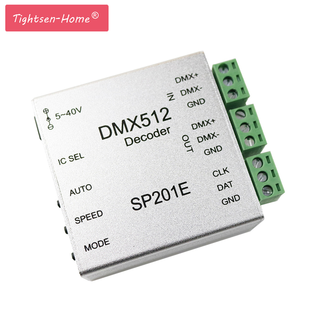 SP201E DMX512 decoder ws2812B ws2801 WS2811 1903 DMX dmx512 rgb led controller DMX BOARD IC led strip LED SPI Converter DC5V/12V