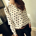 Retro Vintage Women\'s Chiffon Button Down Blouse Heart Print Casual Shirt