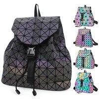 Hot Rainbow Geometric Plaid Triangle Reflected Laser Luminous Hologram PU Teenagers School bag Girl Folding Mini Women Backpack
