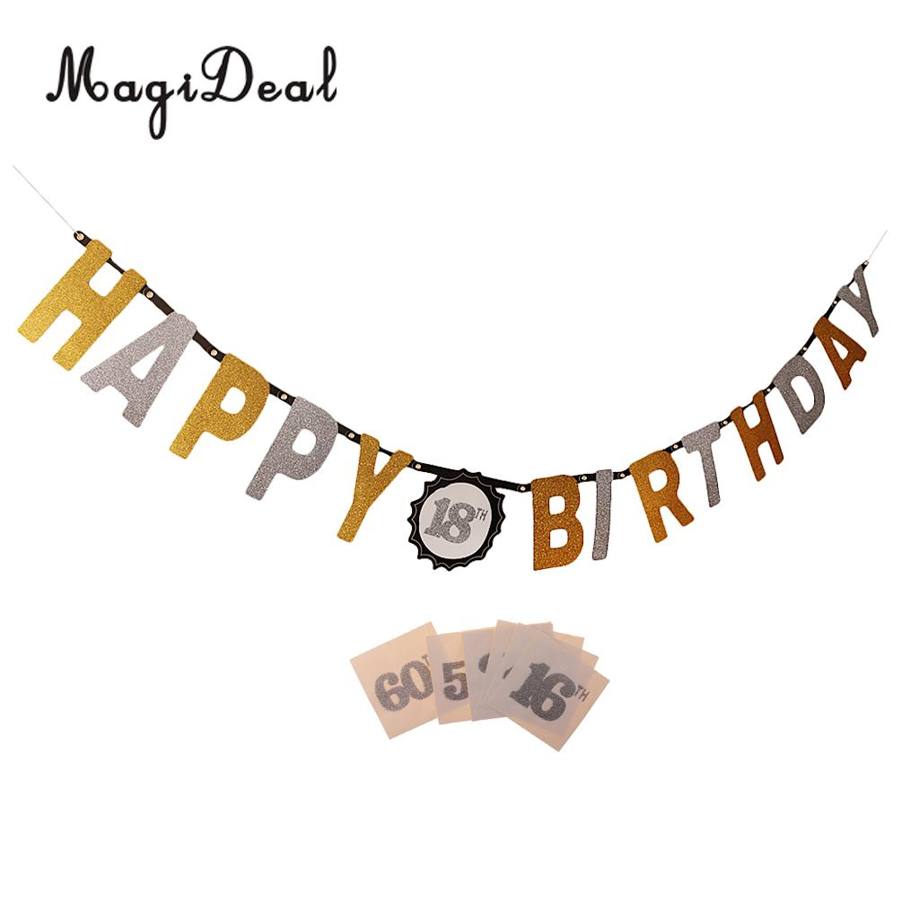 Glitter Happy Birthday Banner Replaceable Numbers 16th 18th 21th 30th 40th 50th 60th Garland Hanging Decoration Flag Sign