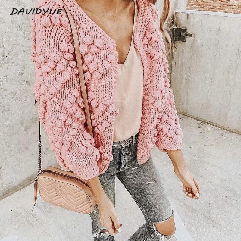 Fashion hairball thick knitted cardigan Casual o neck long sleeve pink cardigan jumper 2018 Autumn winter women sweater knitting