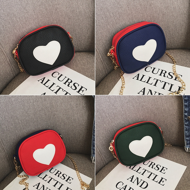Children Mini Heart Print Cross-body Handbag Baby Accessories Fashion Girls Kids PU Shoulder Messenger Zipper Bag Birthday Gifts