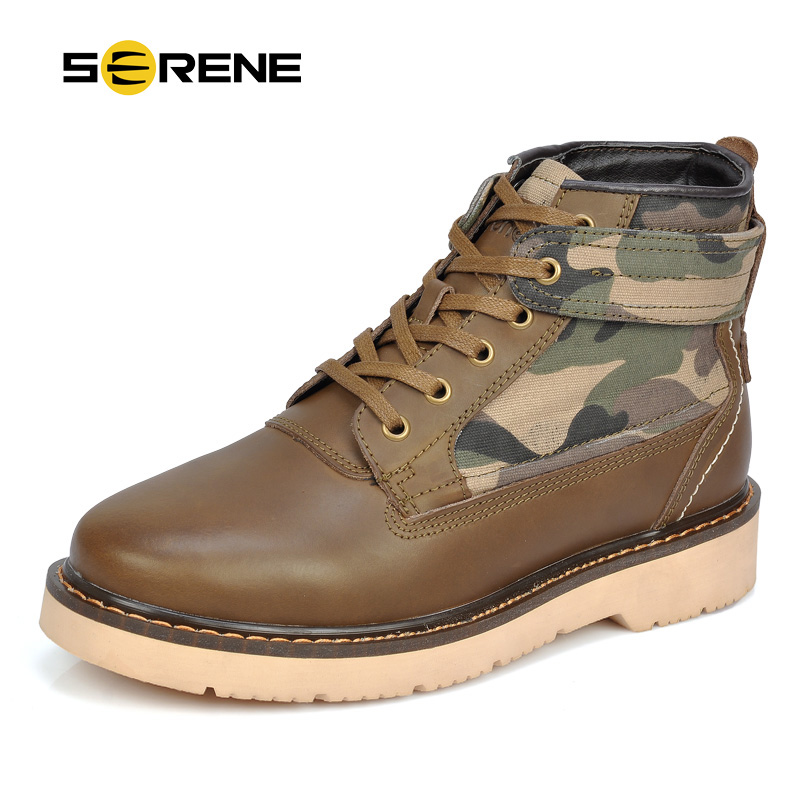 SERENE 2017 Men Boots Camouflage Tooling Boots British Male Fashion Trend  Desert Boots Lace Up Shoes Autumn&Winter 3188 british style vintage men ankle boots genuine leather male tooling boots riding equestrian lace up autumn winter 2 5