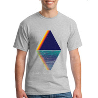 Reflected Mountains Rainbow On The Lake Men T Shirt Short Sleeve Custom Men S T Shirts