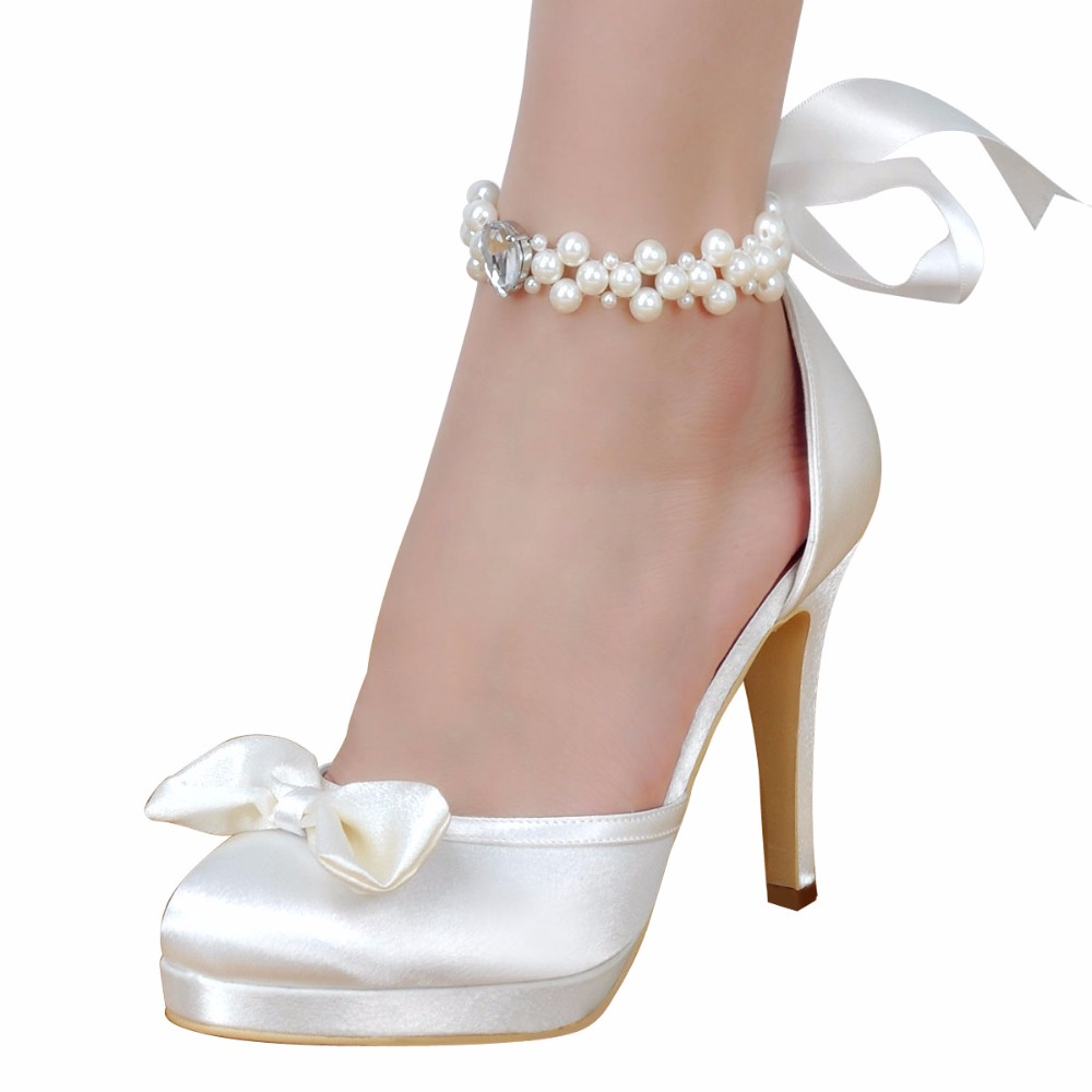 Woman Shoes Wedding Bridal White Ivory High Heel Platform Round Toe Pearls  Ankle Strap Bow Satin Lady Prom Evening Pumps EP11074-in Women s Pumps from  Shoes ... 671ebff5ee06