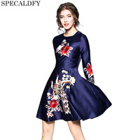 Designer Dresses Runway 2018 High Quality Spring Autumn Party Dresses Women Floral Embroidery Vintage Dress Vestidos