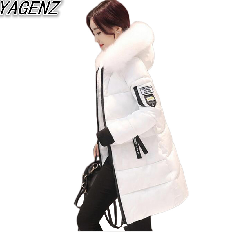 YAGENZ Winter New Women's Clothes Cotton Coat 2017 Fashion Big fur collar Hooded Cotton Jacket Female Large size Padded Overcoat