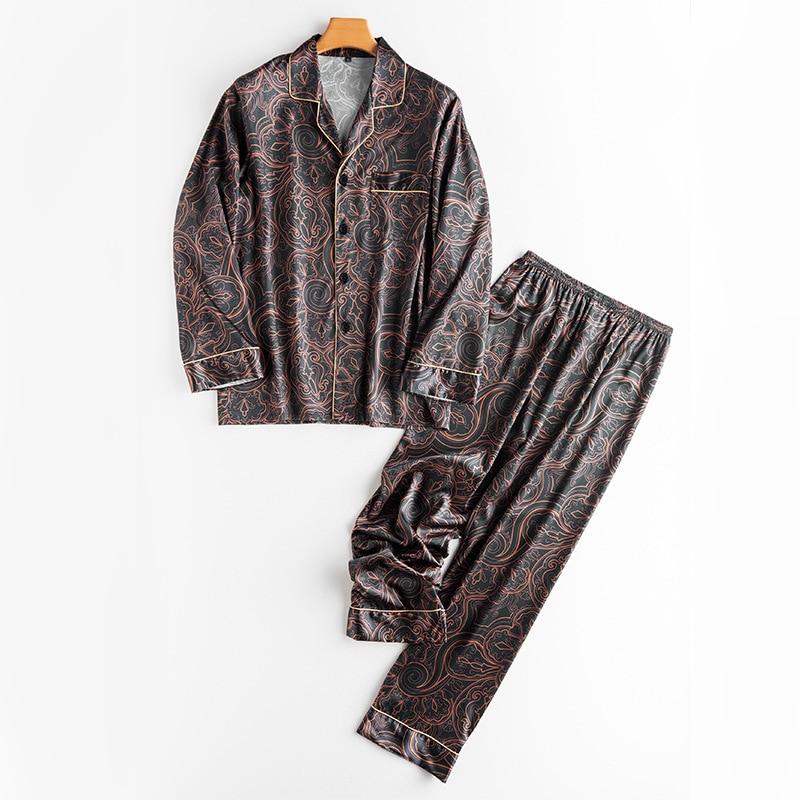 Autumn Men Pajama Set Silk Summer Nightgown Pajamas Long Sleeve Long Pant Sleepwear Plus Size Home Suit Long Sleeve Nightgown