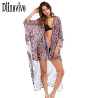 Tiger Floral Printed Sexy Women Blouse Runway Cape Kaftan Beach Shirt Beach Cover Top Summer Kimono