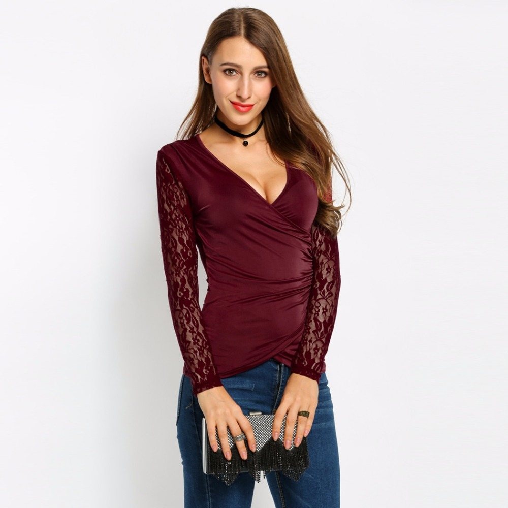 Alishebuy sexy women deep v neck v neck lace long for Wrap style t shirts