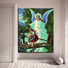 Angels God Protect Children Painting By Numbers DIY Digital Oil Pictures On Linen Canvas Handpainted Home Decor Wall Art Drawing все цены