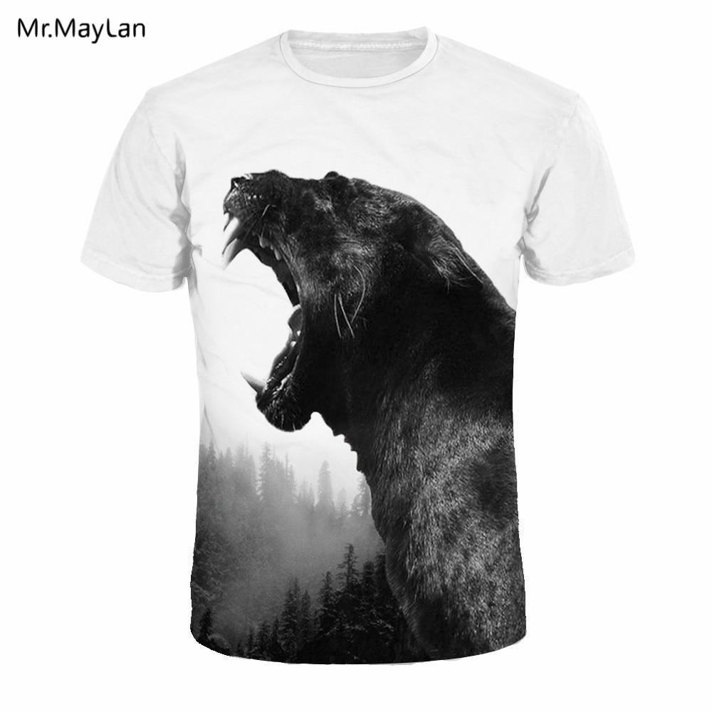 Cool 3D Print Animal Black Leopard T-shirt Men/Women Hiphop O-neck White Tee T shirt Hipster Boy Fashion Tshirt Clothing EU Size
