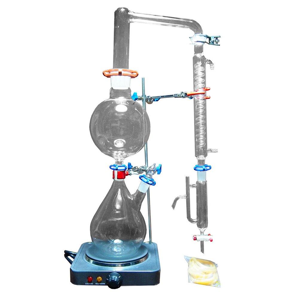 2000 ml laboratoire huile essentielle appareil de Distillation à la vapeur verrerie Kits purificateur d'eau distillateur w/poêle chaud Graham condenseur