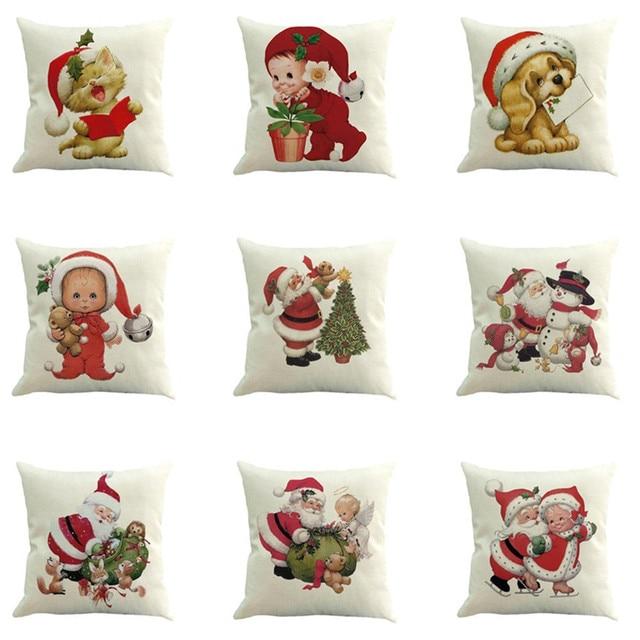 Di natale Coperture per Cuscini di Cotone di Tela di Natale Babbo Natale Pupazzo