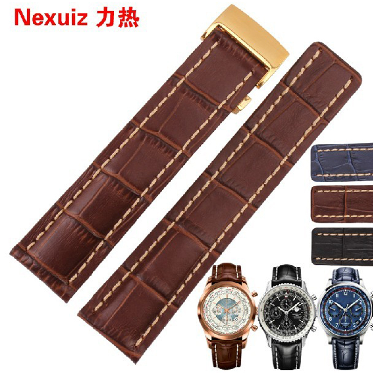 24mm Brown with white stitched Leather Watchband With Gold Buckle For Luxury Watch men  Band Belt Free Shipping top quality 2 mm machine stitched kendo bogu aizome deer leather men do kote tare free shipping