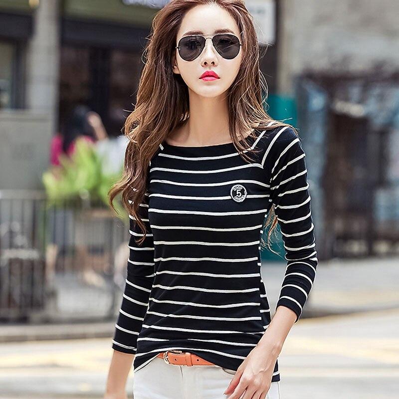 Korean Autumn Fashion Tops Long Sleeve Slash Neck Striped T Shirt Female  T-Shirts Women Joker T Shirt Red Black White Large Size bf06234c2947