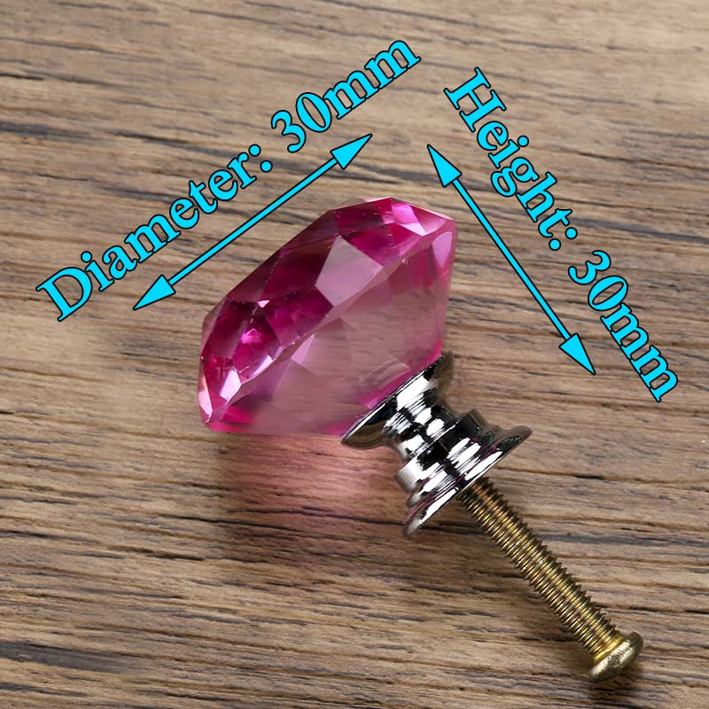 KAK 30 мм Алмазная форма дизайн хрустальные стеклянные ручки Шкаф Тянет ручки ящика кухонный шкаф ручки Мебельная ручка фурнитура - Цвет: Pink