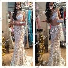 2015 hohe Qualität Heißer Verkauf Scoop Meerjungfrau 2 Stück Prom kleider Applique Weiße Lange Spitze Abendgesellschaft Kleid Vestido de Festa