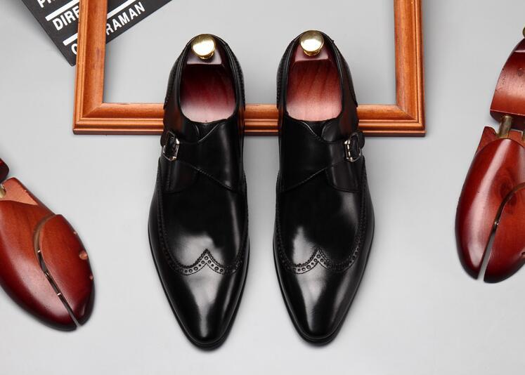 Casual Chaussures Respirant Pointu Glissent Sculpté Véritable Mariage chocolat De Smart Cuir En Hommes D'été Orteils Boucle Richelieu Noir Richelieus Sur qaawSW6B5