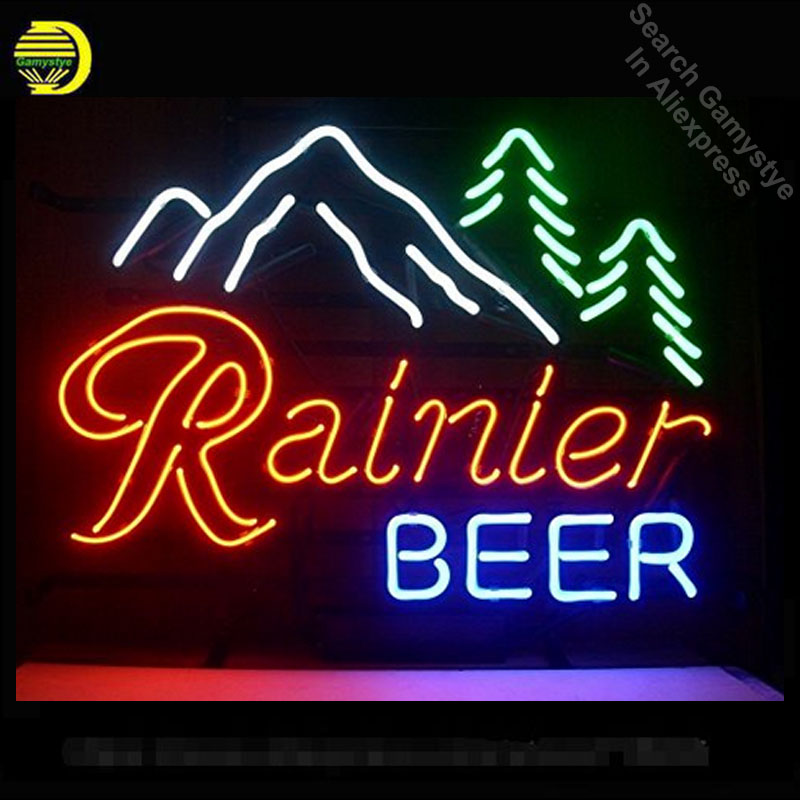 Rainier Beer Neon Light Sign Neon bulbs sign neon sign Real Glass Tube for Bar Pub Hotel Wedding Party handcrafted 17x14 inches wild at heart neon sign advertise custom logo neon bulb beer glass tube handcrafted neon glass tubes recreation room lamps 17x14